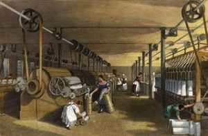 19th century --- The Cotton Industry. Carding, drawing and roving. Engraving, 1835. --- Image by © Bettmann/CORBIS