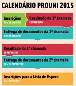 Calendário Prouni 2015