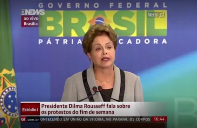Dilma faz pronunciamento oficial sobre a manifestação