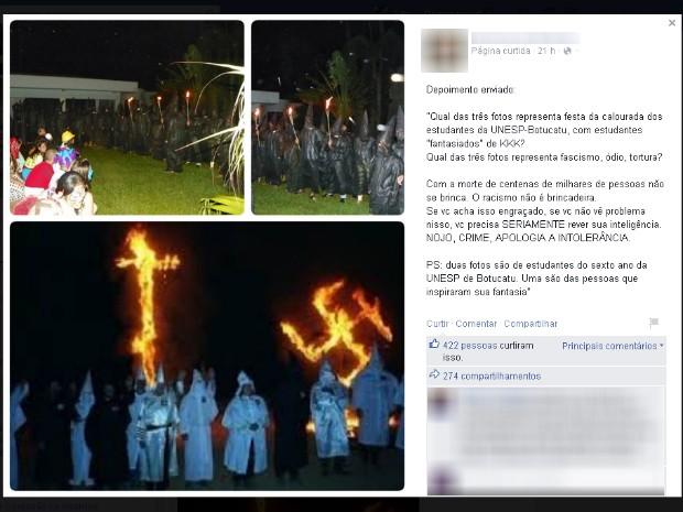 Veteranos da Unesp recebem calouros com trajes parecidos com os da Ku Klux Klan 2