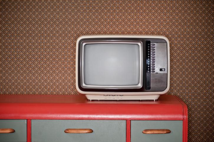 Sixties TV On Retro Desk