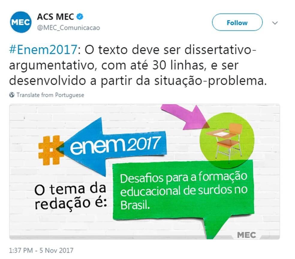 Confira o tema da redação do Enem 2017